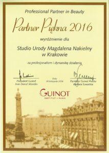 Nagroda - Wyróżnienie Professional Partner in Beauty 2016