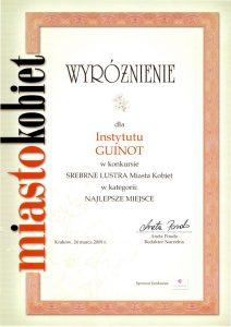 Nagroda - Wyróżnienie w konkursie o Srebrne Lustro Miasta Kobiet 2009