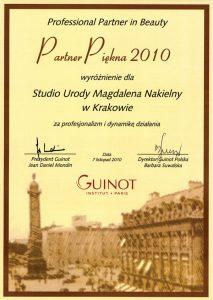 Nagroda - Wyróżnienie Professional Partner in Beauty 2010